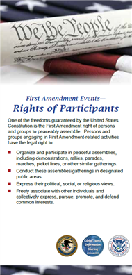 Image for The Role of State and Local Law Enforcement at First Amendment Events Reference Card