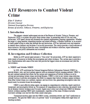 Image for ATF Resources to Combat Violent Crime