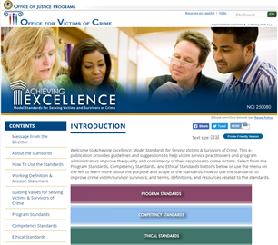 Image for Achieving Excellence: Model Standards for Serving Victims & Survivors of Crime