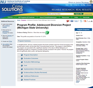 Image for Adolescent Diversion Project (Michigan State University)