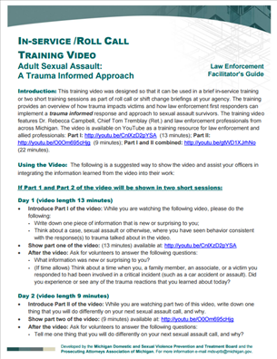 Image for Adult Sexual Assault: A Trauma Informed Approach (In-Service/Roll Call Training Video)