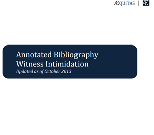 Image for Annotated Bibliography of Witness Intimidation Resources