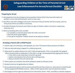 Image for Safeguarding Children at the Time of Parental Arrest Law Enforcement Pre-Arrest/Arrest Checklist