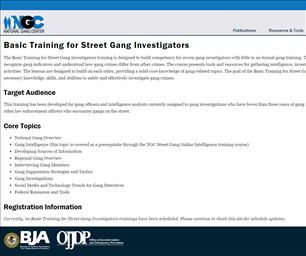 Image for Basic Training for Street Gang Investigators - National Gang Center (NGC)