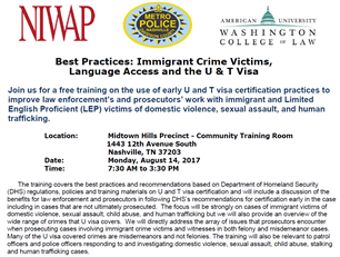 Image for Best Practices: Immigrant Crime Victims, Language Access and the U & T Visa