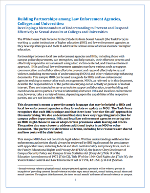 Image for Building Partnerships among Law Enforcement Agencies, Colleges and Universities: Developing a Memorandum of Understanding to Prevent and Respond Effectively to Sexual Assaults at Colleges and Universities