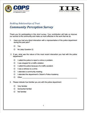 Image for Building Relationships of Trust: Community Perception Survey
