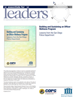 Image for Building and Sustaining an Officer Wellness Program: Lessons from the San Diego Police Department. Essentials for Leaders.