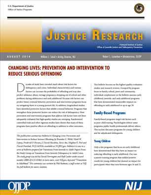 Image for Changing Lives: Prevention and Intervention to Reduce Serious Offending