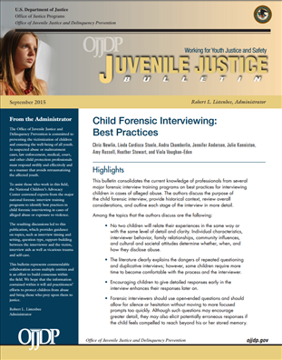Image for Child Forensic Interviewing: Best Practices