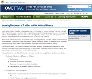Image for Increasing Effectiveness of Providers for Child Victims of Violence