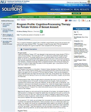 Image for Cognitive-Processing Therapy for Female Victims of Sexual Assault