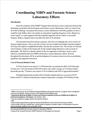 Image for Coordinating NIBIN and Forensic Science Laboratory Efforts