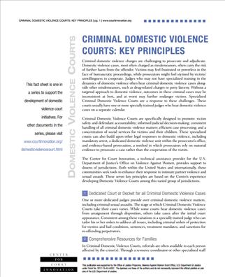 Image for Criminal Domestic Violence Courts: Key Principles