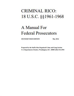 Image for Criminal RICO: 18 USC 1961-1968, A Manual for Federal Prosecutors