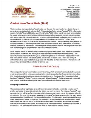 Image for Criminal Use of Social Media