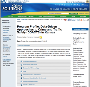 Image for Program Profile: Data-Driven Approaches to Crime and Traffic Safety (DDACTS) in Kansas