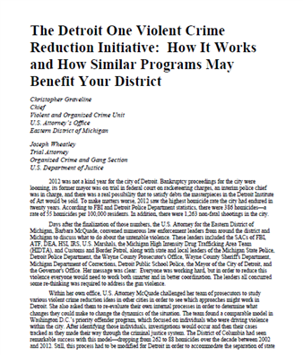 Image for The Detroit One Violent Crime Reduction Initiative: How It Works and How Similar Programs May Benefit Your District