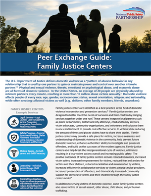 Image for Peer Exchange Guide: Family Justice Centers