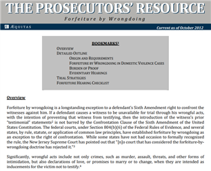 Image for The Prosecutors' Resource: Forfeiture by Wrongdoing