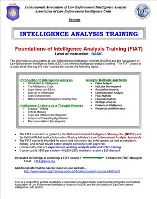 Image for Foundations of Intelligence Analysis Training (FIAT)