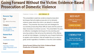 Image for Going Forward Without the Victim: Evidence-Based Prosecution of Domestic Violence