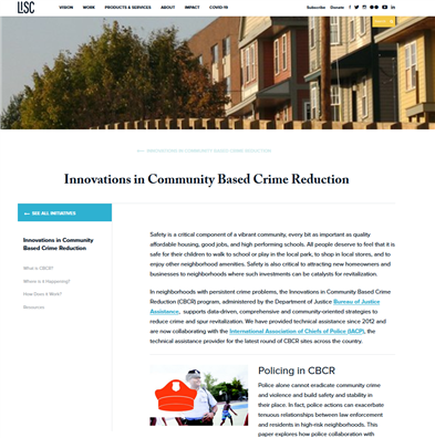 Image for Innovations in Community Based Crime Reduction (CBCR)