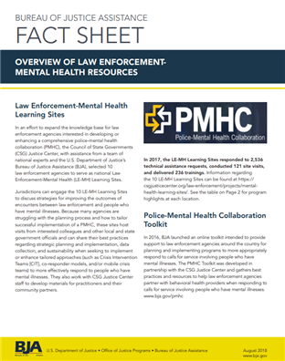 Image for BJA Fact Sheet: Law Enforcement Mental Health Resources