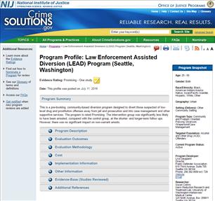 Image for Law Enforcement Assisted Diversion (LEAD) Program (Seattle, Washington)