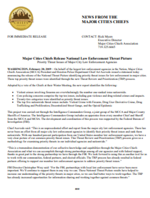 Image for Major Cities Chiefs Release National Law Enforcement Threat Picture