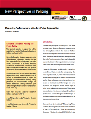 Image for Measuring Performance in a Modern Police Organization