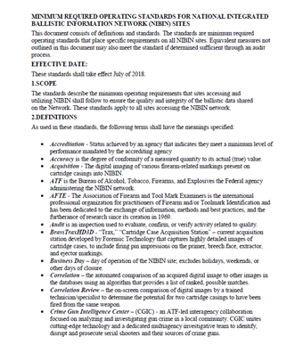 Image for Minimum Required Operating Standards for National Integrated Ballistic Information Network (NIBIN) Sites