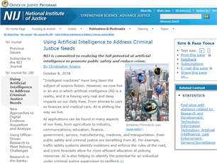 Image for Using Artificial Intelligence to Address Criminal Justice Needs