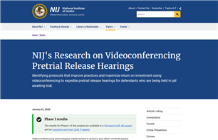 Image for NIJ's Research on Videoconferencing Pretrial Release Hearings