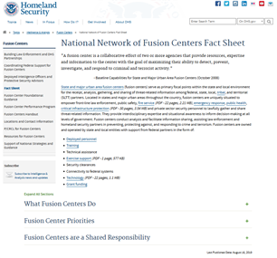 Image for National Network of Fusion Centers Fact Sheet