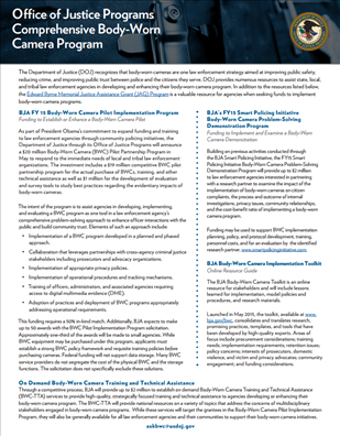 Image for Office of Justice Programs Comprehensive Body-Worn Camera Program