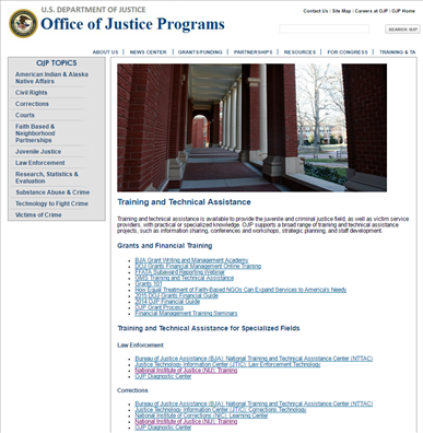 Image for Office of Justice Programs Training and Technical Assistance