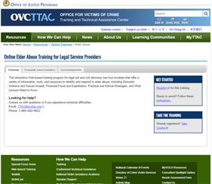 Image for Online Elder Abuse Training for Legal Service Providers