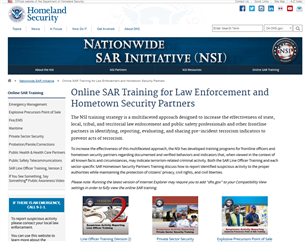 Image for Online SAR Training for Law Enforcement and Hometown Security Partners