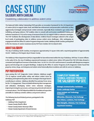 PSP Case Study: Salisbury, North Carolina cover page