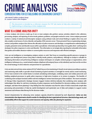 Image for PSP Research Brief: Crime Analysis Considerations for Establishing or Enhancing Capacity