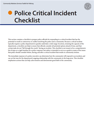 Image for Police Critical Incident Checklist