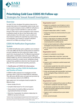 Image for Prioritizing Cold Case CODIS Hit Follow-up: Strategies for Sexual Assault Investigators