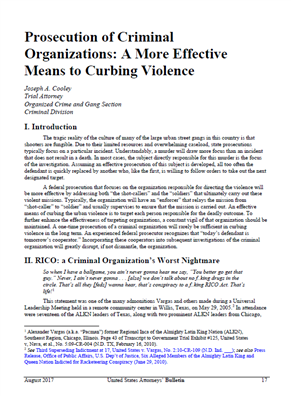 Image for Prosecution of Criminal Organizations - A More Effective Means to Curbing Violence