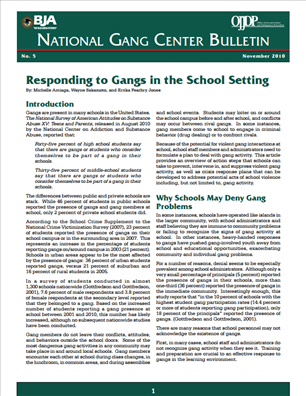 Image for Responding to Gangs in the School Setting