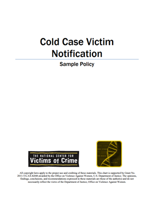 Image for Sample Policy for Cold Case Victim Notification
