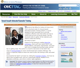 Image for Sexual Assault Advocate/Counselor Training Curriculum