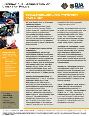 Image for Social Media and Crime Prevention Fact Sheet