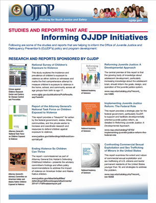 Image for Studies and Reports that are Informing OJJDP Initiatives