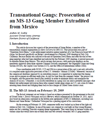 Image for Transnational Gangs: Prosecution of an MS-13 Gang Member Extradited from Mexico